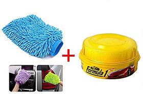 Formula 1 Carnauba Wash  Wax Shampoo Car Washing Liquid  (473 ml) And One Microfiber Glove ( Multicolor )
