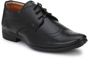 AVR Black Synthetic Leather Lace Up Formal Shoes