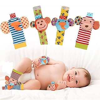 Kuhu Creations Cute  Stylish Soft Baby Rattles. (4 Units, Style H Animal Multicolor 2 Wrist  2 Foot Rattle)