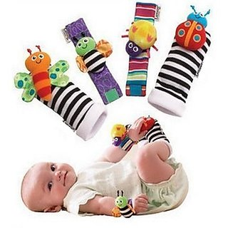 Kuhu Creations Cute  Stylish Soft Baby Rattles.(4 Units, Style D Multicolor 2 Wrist  2 Foot Rattle)