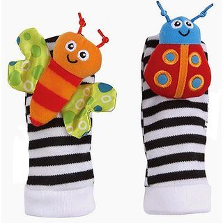 Kuhu Creations Cute  Stylish Soft Baby Rattles.(2 Units, Style B Multicolor 2 Foot Rattle)