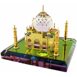 24K Gold Plated Crystal Taj Mahal Big Decorative Showpiece - 11.5 cm  (Crystal, Gold Plated, Gold)