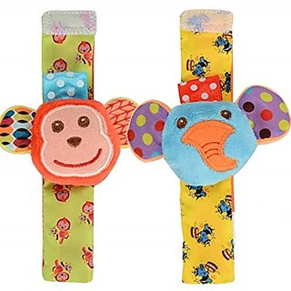 Kuhu Creations Cute  Stylish Soft Baby Rattles.(2 Units, Style E Animal Multicolor 2 Wrist Rattle)
