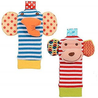 Kuhu Creations Cute  Stylish Soft Baby Rattles.(2 Units, Style F Animal Multicolor 2 Foot Rattle)