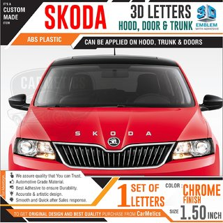 CarMetics Skoda 3d Letters for Skoda SUPERB Chrome Finish - Skoda  accessories 3d stickers 3d logo Emblem