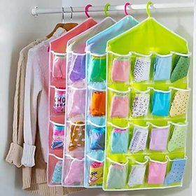 16 Pockets Multifunction Space Saver Over Door Hanging Wardrobe Wall Bags Rack Hanger Caddy Storage Tidy Organizer
