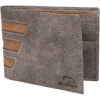 Burak Mens Light Grey Leather Wallet (CSL-1109) (Synthetic leather/Rexine)