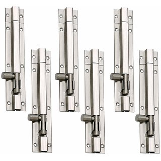 MH  Stainless Steel Plain Tower Bolt 6 Inches Silver Pack of 6 Pieces