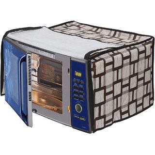 Glassiano Beige Checkered Printed Microwave Oven Cover for Samsung 32 Litre Convection Microwave Oven CE117PC-B2/XTL Black