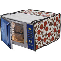 Glassiano White Floral Printed Microwave Oven Cover for IFB 20 Litre Grill Microwave Oven 20PG4S Black/ Silver