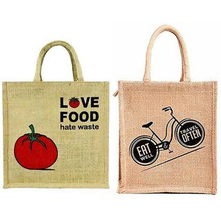 Styles Creation Combo Of 2 Premium Quality Stylish Trendy Jute Lunch Bag /Return Gift Bag /Everyday use Bag (HNDBG10)