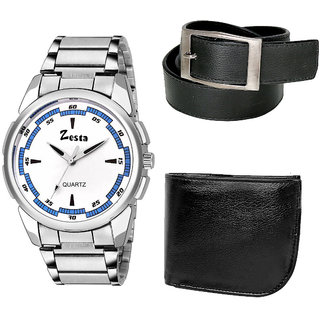 Men's Stylish Analog Watch with 1 Leather Wallet and Belt (Black) (Watch Dial-White  Strap-Silver)