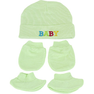 Neska Moda 1 Set Green Baby Boys And Girls Mitten Cap And Booties For 0 To 6 Month MT24