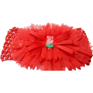 Proplady Floral Cutwork Teddy Baby Girl  Head Band (Pack of 1, Red)