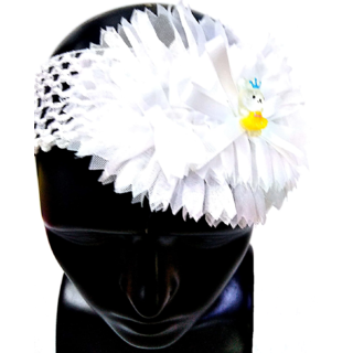 Proplady Floral Cutwork Teddy Baby Girl  Head Band (Pack of 1, White)