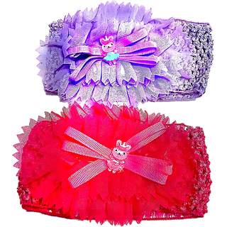 Proplady Floral Cutwork Combo Teddy Baby Girl Head Bands (Pack of 2- Red,Purple)