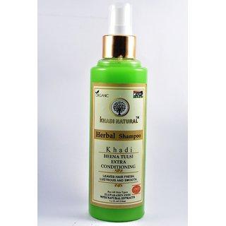 Khadi Natural Heena Tulsi extra conditioning herbal shampoo 210 ml - SLS/Paraben Free
