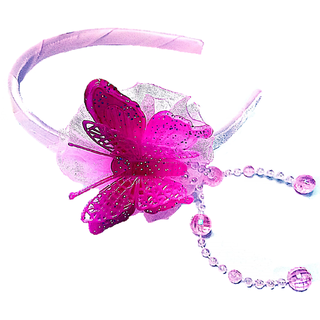 Proplady Fluorescent Partywear Butterfly Hairband With Shimmery Finish & Crystal Danglers Hair Band (Pack of 1,Baby Pink)