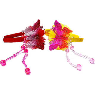 Proplady Fluorescent Partywear Combo Butterfly Hairband With Shimmery Finish & Crystal Danglers Hair Band (Pack of 2)
