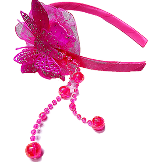 Proplady Fluorescent Partywear Butterfly Hairband With Shimmery Finish & Crystal Danglers Hair Band (Pack of 1,Pink)