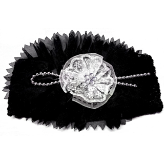 Proplady Floral Net Cutwork With Beads Girls Head Band (Pack of 1, Black)
