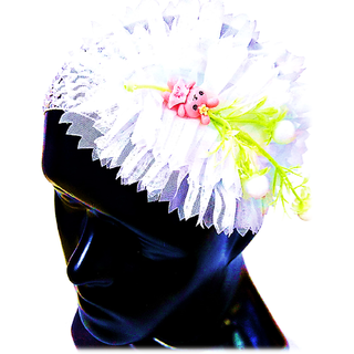 Proplady Floral Design Cutwork Baby Girl  Head Band (Pack of 1, White)
