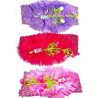 Proplady Floral Design Cutwork Baby Girl  Head Band Combo (Pack of 3- Pink,Purple)
