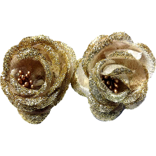 Proplady Golden Rose Hair Clip/Brooch Pin (Pack of 2) for Women & Girls Accessory Set, Hair Brooch, Hair Pin, Bun Clip