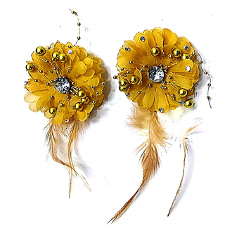 Proplady Stone Studded Golden Flower Hair Clip/Brooch Pin (Pack of 2) For Women & Girls  Hair Clip, Brooch Pin, Bun Clip