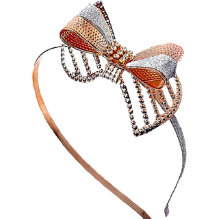 Proplady Fancy Stone Studded Gold Silver Bow Metal Hair Band/Headband for Girls & Women