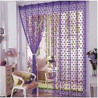 z decor polyester beautiful curtain set of 2 (purple heart )