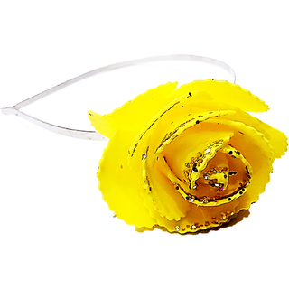 Proplady Princess Shimmery Rose Metal Hair Band, Head Band  (Pack of 1, Yellow)