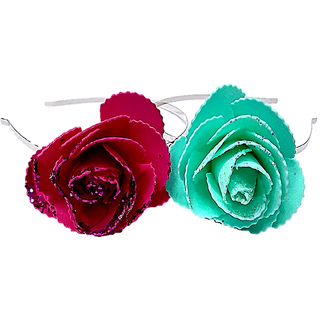 Proplady Princess Combo Shimmer Rose Metal Hair Band, Headband (Pack of 2- Pink,Turquoise)