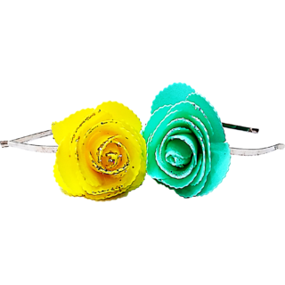 Proplady Princess Combo Shimmer Rose Metal Hair Band, Headband (Pack of 2- Yellow,Turquoise)