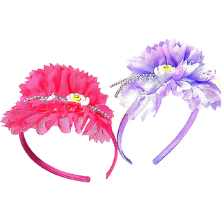 Proplady  Combo Floral Cutwork Stone Studded Hairband, Head Band  (Pack of 2-Pink,Purple)
