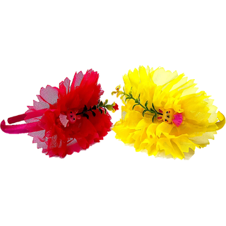 Proplady Princess Combo Floral Design Wide Hairbands/Headbands for Girls, Baby Girls (Pack of 2-Yellow,Pink)