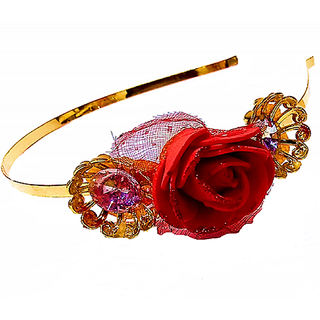 Proplady Princess Tiara/Crown Style Rose Stone Studded Metal HairBand, HeadBand for Girls & Women(Pack of 1,Red)