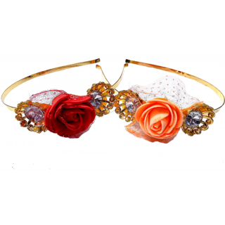 Proplady Princess Combo Stone Studded Tiara Rose Metal HairBand, HeadBand for Girls & Women(Pack of 2-Orange,Red)