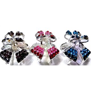 Proplady Butterfly Stone Studded Hair Clip Combo (Pack of 3,M-Size) , Clutch, Claws Clip, Wedding Hair Accessories for Women