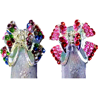 Proplady Butterfly Stone Studded Hair Clip Combo (Pack of 2,M-Size) , Clutch, Claws Clip, Wedding Hair Accessories for Women