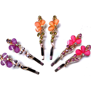 Proplady Partywear (Set of 6 pieces) Stylish Rhinestone Metal Hair Clips/Hair Pins/Tic Tacs for Girls & Women|Wedding Hair Accessories|Designer Hair Clips