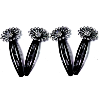 Proplady Partywear (Set of 4 pieces) Stylish Rhinestone Black Metal Tic Tac Clips/Hair Pins/Clips for Girls & Women|Wedding Hair Accessories|Designer Hair Clips