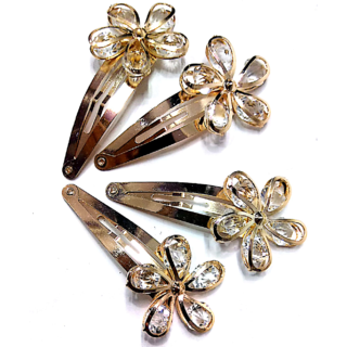 Proplady Partywear (4 pieces set) Stylish Golden Rhinestone Metal Tic Tac Clips/Hair Pins/Clips for Girls & Women|Wedding Hair Accessories|Designer Hair Clips