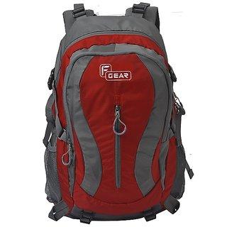 F Gear Plaza 40 Liter Hiking Bag (Brick Red, Grey)