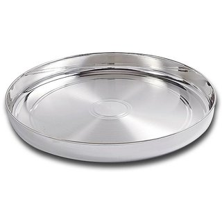 Maa Silver Plain Silver Thali/Dinner Plate with 97 Purity