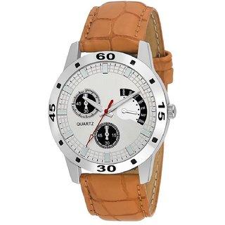 SCK Brown Leather Design Chronograph Pattern Quartz Watch For Men