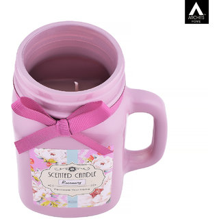 Archies Rosemary Aromatic Fragrance Candle With Jar For Home Decor Room Aroma Fragrance Pink Color Quantity 700 Ml (13.5X10 Cms) 1 Pc Set.