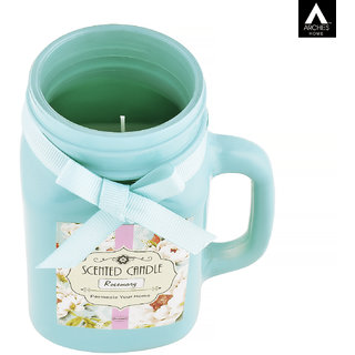 Archies Rosemary Aromatic Fragrance Candle With Jar For Home Decor Room Aroma Fragrance Green Color Quantity 700 Ml (8.8X7.5 Cms) 1 Pc Set.