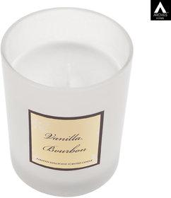 Archies Vanilla Bourbon Aromatic Fragrance Candle For Home Decor, White Color, Quantity 300 Ml, (8.5X7.5 Cms), 1 Pc Set.