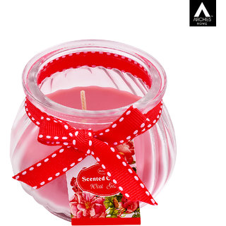 Archies Aromatic Fragrance Candle With Jar For Home Decor Room Aroma Fragrance Pink Color Quantity 65 G (8.5X7 Cms) 1 Pc Set.